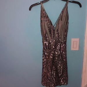 Grey Sequin Party Dress